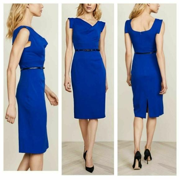 32709511 Black Halo Dresses | Classic Jackie O Sheath Dress Blue | Poshmark